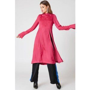 Free People Tunic Dress Mock Neck Embroidery M NWT